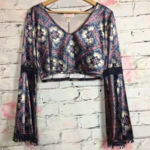 Band of Gypsies velvet cropped top sz L